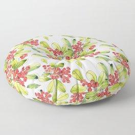 Luscious Red Berries Watercolor Floor Pillow