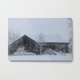 Winter Barn Scene Metal Print