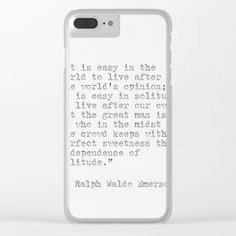 Ralph Waldo Emerson philosophy Quote Clear iPhone Case