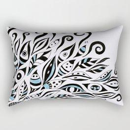 Doodles Black Ink Pattern Bohemian Rectangular Pillow