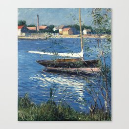 Gustave Caillebotte - boat moored on the Seine Argenteuil. Canvas Print