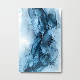 Deep Blue Flowing Water Abstract Painting Metal Print