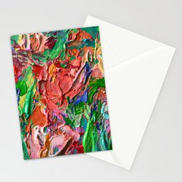 Tulips - palette knife abstract nature flower painting by Adriana Dziuba Stationery Cards