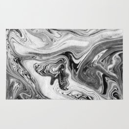 Mizuki - spilled ink marbling paper marble swirl abstract painting original art india ink minimal Rug