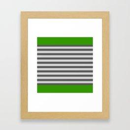 Green Black White Stripes Framed Art Print