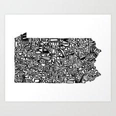 Typographic Pennsylvania Art Print