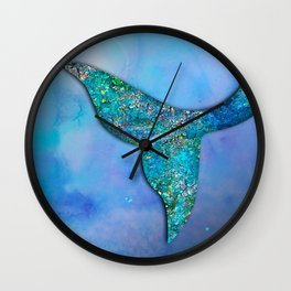 Sparkly Mermaid Tail Fin Wall Clock