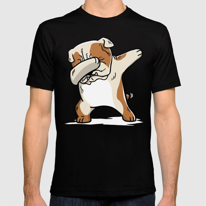 0828cfc4 Funny English Bulldog Dabbing T-shirt by barktrends   Society6