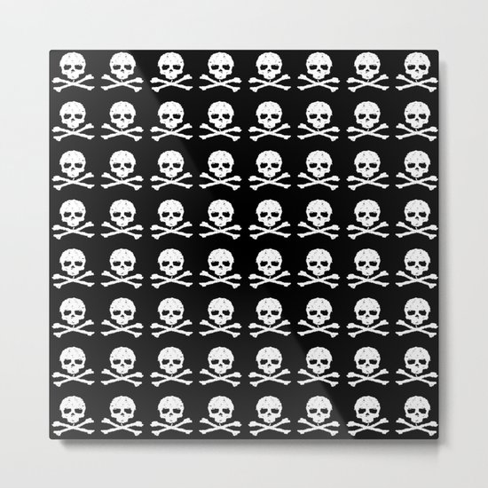 Skull and XBones in Black and White Metal Print