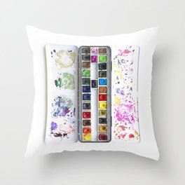 Messy Watercolor Painting Palette Photograph Throw Pillow