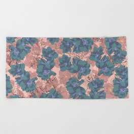 Faded Hibiscus Pink Beach Towel