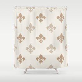 Fleur de lis Pattern – Neutral Brown and Biege Earth Tones Shower Curtain