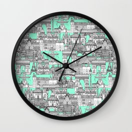Paris toile aquamarine Wall Clock
