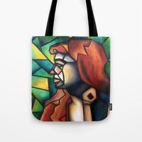stained glass Tote Bags featuring Stained Glass  by Alexa Brooke Rutledge
