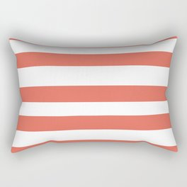 Inspired by Pantone Living Coral 16-1546 Hand Drawn Fat Horizontal Lines on White Rectangular Pillow