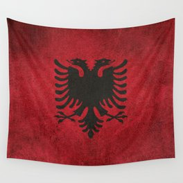 Old and Worn Distressed Vintage Flag of Albania Wall Tapestry