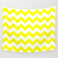 chevron Wall Tapestries featuring Chevron (Yellow/White) by 10813 Apparel