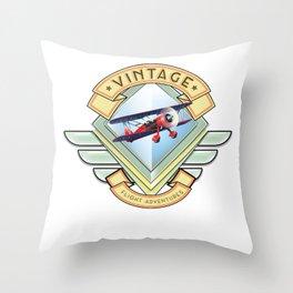 vintage flying logo. Throw Pillow