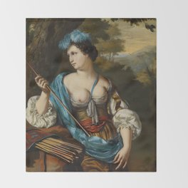 "Willem van Mieris ""Diana Goddess of the Hunt"" Throw Blanket"