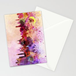 Moscow skyline in watercolor background Stationery Cards
