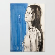 The figure of a woman crossing from one room to another Canvas Print