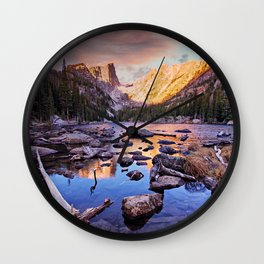 Sunrise Reflections at Dream Lake Wall Clock