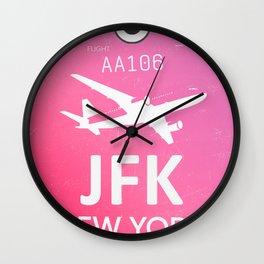 Pink JFK NEW YORK Airport code Wall Clock