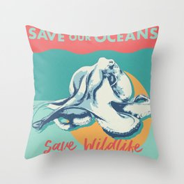 The More You Know: Save Our Oceans Throw Pillow