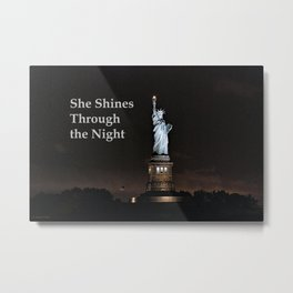 She Shines Through the Night Metal Print
