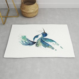 Blue Hummingbird Watercolor Rug