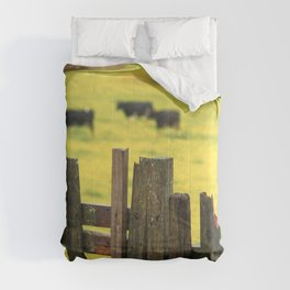Pasture, fence and cows Comforters