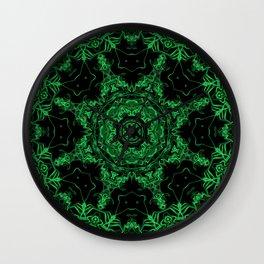 Green and Black Kaleidoscope 3 Wall Clock