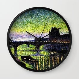 The Louvre and Pont du Carrousel at Night by Maximilian Luce Wall Clock