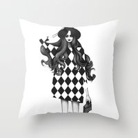 fashion illustration Throw Pillows featuring Fashion Illustration by Sibling & Co.
