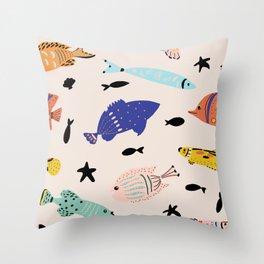 Pattern Sea Treasures-Fish Gallery Throw Pillow