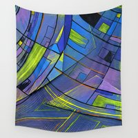 cities Wall Tapestries featuring Purple cities by Squidfeathers