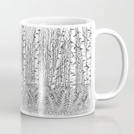 Birch Trees Black and White Illustration Coffee Mug