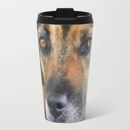 Portrait of a black dog reflected in water Travel Mug