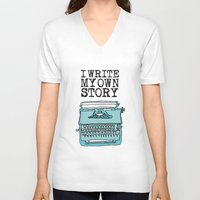 write V-neck T-shirts featuring I Write  by Kendra Amy Allen