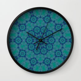 Jade , Aqua and Turquoise Symmetrical Pattern Wall Clock