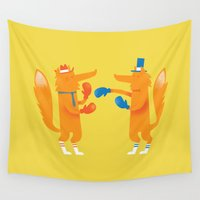 socks Wall Tapestries featuring Posh foxes like to box while wearing socks by Wharton