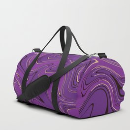 Ultra violet and gold liquid marble pattern. Duffle Bag