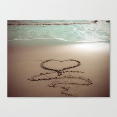 Beach Heart Sand Writing Canvas Print