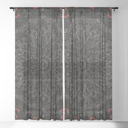 Red and Black Bohemian Mandala Design Sheer Curtain