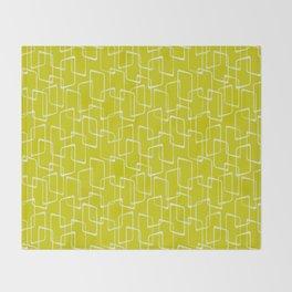 Lime Green Retro Geometric Pattern Throw Blanket