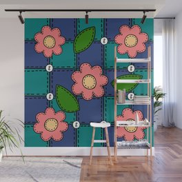 Retro Doodle Flower Style Quilt - Dark Blue and Green Wall Mural