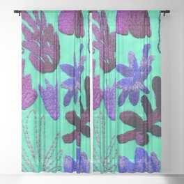 tropical leaves embroidered pattern Sheer Curtain