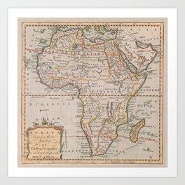 Vintage Africa Map (1770) Vintage African Continent Atlas Art Print