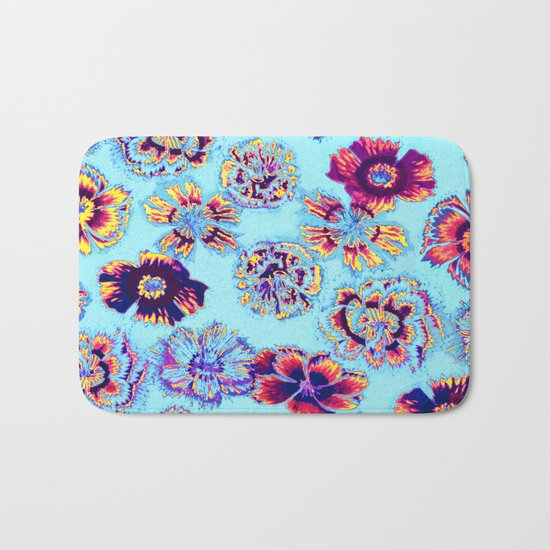 flowers on turquoise Bath Mat