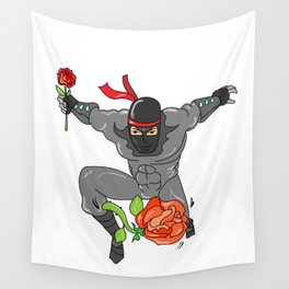 Romantic Ninja - Love Valentine's day Rose Wall Tapestry